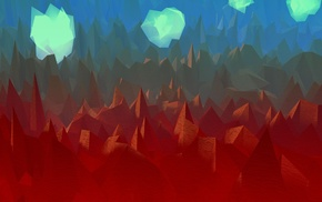 artwork, low poly, clouds, digital art, landscape, abstract