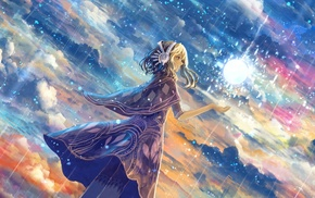 anime, stars, artwork, sky, clouds, fantasy art