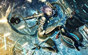 fantasy art, cyborg, city, artwork, anime, original characters