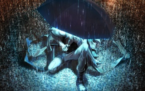 artwork, anime, umbrella, fantasy art, rain, original characters