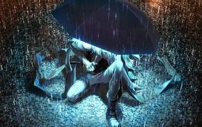 произведение искусства, аниме, зонтик, фантастическое исскуство, дождь