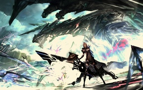 dragon, anime, futuristic, artwork, fantasy art, sword