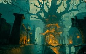 магия, мост, деревья
