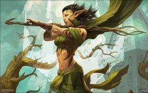 Nissa Revane, druids, magic, elves, Planeswalkers, Peter Mohrbacher
