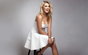 gray background, Eliza Taylor, white dress, smiling, Australia, blonde