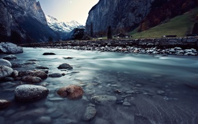 mountain, rock, nature, river