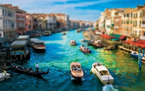 blurred, boat, Venice, cityscape, tilt shift, building