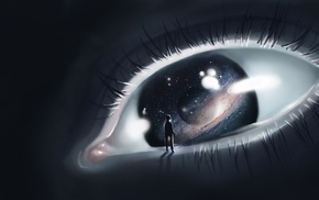 digital art, space, artwork, planet, eyes
