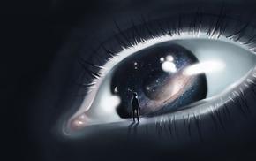 цифровое искусство, космос, произведение искусства, планета, глаза