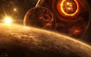 солнце, планета, цифровое искусство, космос, космический арт