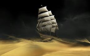 desert, sand, ship