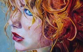 рыжие, произведение искусства, голубые глаза, лицо, девушка