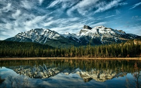 nature, trees, reflection, Canada, mountain