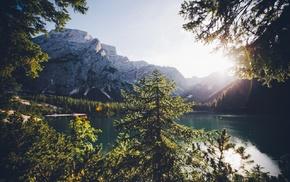озеро, пейзаж, облака, природа, горы