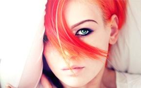 face, girl, redhead, green eyes
