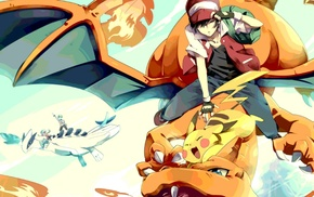 Charizard, Lugia, red, crystal, Pokemon, silver