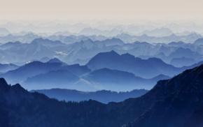 природа, синий, пейзаж, горы