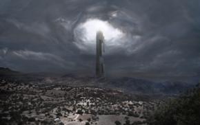 Half, Life 2, sky, Citadel, mountain