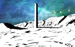 apocalyptic, drawing, Monolith, colorful, space, white