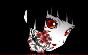 Jigoku Shoujo, face, flowers, dark hair, Enma Ai, red eyes