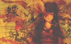 бабочка, кимоно, аниме, девушки из аниме