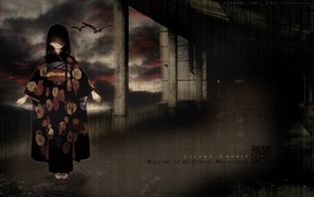 anime, crow, dark eyes, anime girls, Enma Ai, kimono