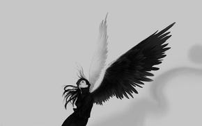 ангел, белый, черный, крылья