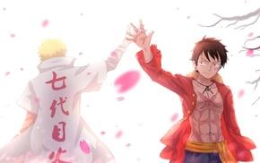 cherry blossom, Monkey D. Luffy, Uzumaki Naruto, One Piece, anime
