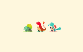 Charmander, Squirtle, minimalism, Bulbasaur, Pokemon
