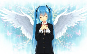 closed eyes, Vocaloid, wings, Hatsune Miku