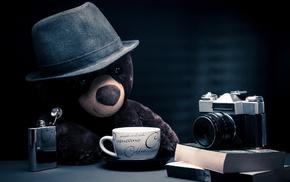 teddy bears, alcohol, camera, coffee, books