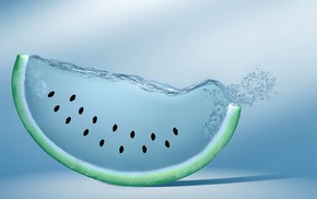 artwork, digital art, fruit, creativity, watermelons, water