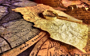 paper, creativity, map, magnifying glasses