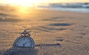 солнечный свет, песок, часы, пляж