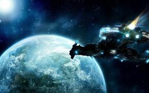 планета, космический корабль, Starcraft II, цифровое искусство, космос