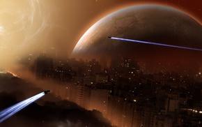 планета, футуризм, космос, цифровое искусство, космический корабль