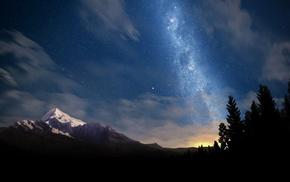 trees, stars, mountain, nature