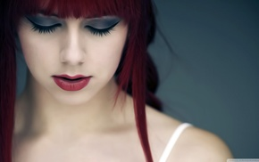 red lipstick, girl, redhead