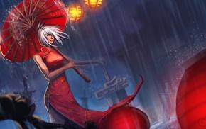платье, произведение искусства, зонтик, Лига Легенд, девушка