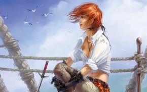 pirates, redhead, anime girls