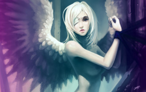 girl, nude, wings, anime girls