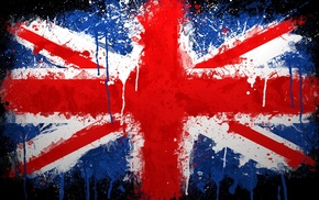 UK, flag, Union Jack, paint splatter, british flag