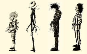 Beetlejuice, Tim Burton, Edward Scissorhands, Mars Attacks, movies, fan art