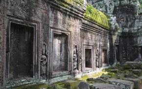 Angkor Wat, gray, statue, Siem Reap, ancient, Hinduism