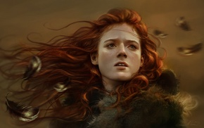 Game of Thrones, fantasy art, Rose Leslie, girl, redhead