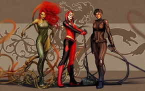 Nebezial, fantasy art, Catwoman, Harley Quinn, Poison Ivy