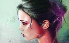 девушка, произведение искусства, темные волосы, лицо