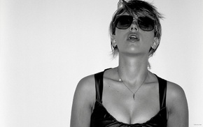 cleavage, blonde, Scarlett Johansson, sunglasses, lips