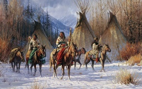 nature, artwork, Native Americans