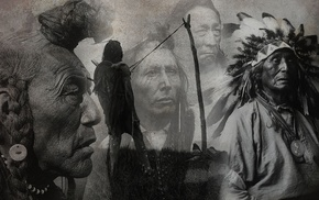 Native Americans, gray, nature, artwork